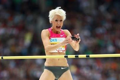 Following a series of explosive jumps, Ariane Friedrich celebrates a huge pb, national record and world leading height of 2.06m (Getty Images)
