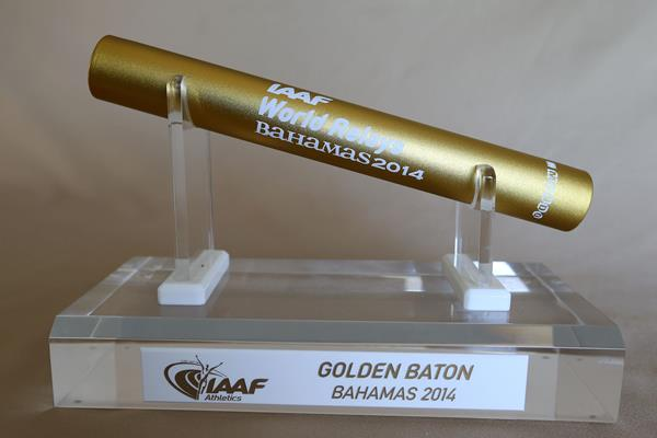 'Golden Baton Nassau 2014' - the trophy which will be awarded to the overall best team at the inaugural IAAF World Relays (Getty Images)