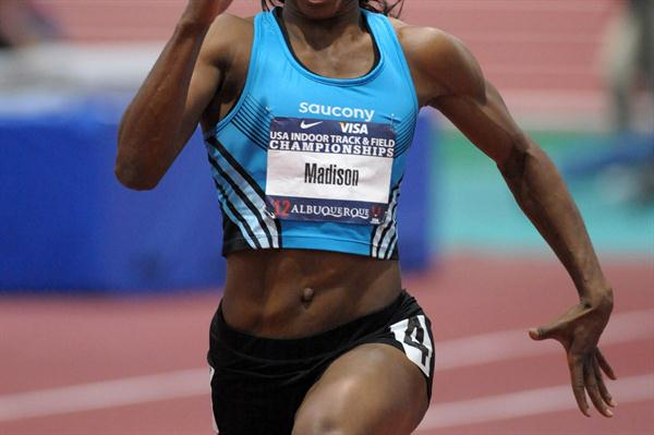 Another 7.02 dash for Tianna Madison in Albuquerque (Kirby Lee)