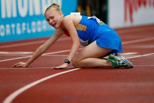 Olga Shargina after being disqualified from the 10,000m race walk at the 2014 IAAF World Junior Championships in Eugene (Getty Images)