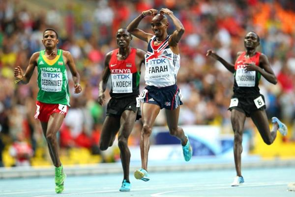 Mo Farah in the mens 5000m final at the IAAF World Athletics Championships Moscow 2013 (Getty Images)