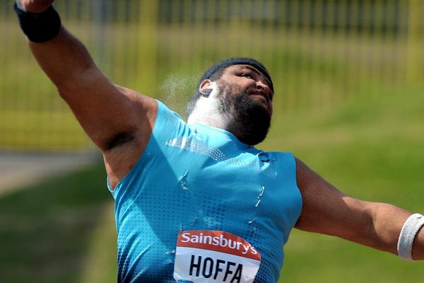 Reese Hoffa, winner of the Shot at the Birmingham Diamond League (Mark Shearman)