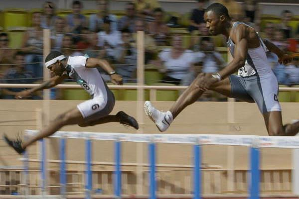Bershawn Jackson of the US wins the 400m Hurdles at the World Athletics Final (Getty Images)