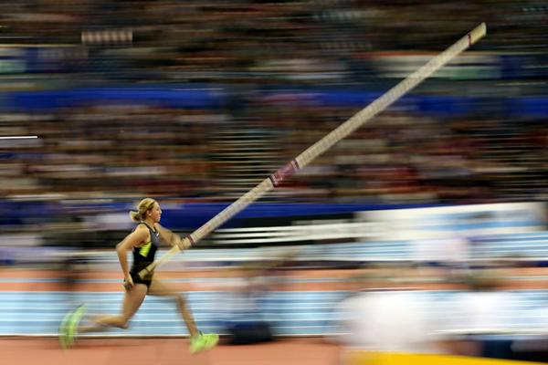 Holly Bleasdale, winner of the Pole Vault in Birmingham (Getty Images)