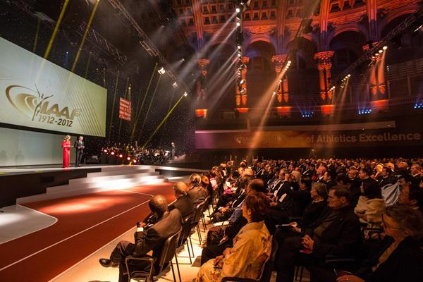 Presenters and audience at the IAAF Centenary Gala in Barcelona (Philippe Fitte)