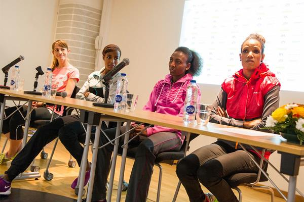 Jenny Simpson, Sifan Hassan, Abeba Aregawi and Meraf Bahta at the press conference ahead of the IAAF Diamond League Meeting in Stockholm (Deca Text & Bild)
