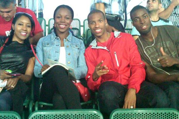 Veronica Campbell-Brown and friends enjoying a football match in Budapest (Claude Bryan)