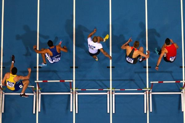 The men's 60m hurdles at the 2014 IAAF World Indoor Championships in Sopot (Getty Images)