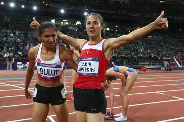 Gold medalist Asli Cakir Alptekin of Turkey celebrates with silver medalist Gamze Bulut of Turkey after the Women's 1500m Final on Day 14 of the London 2012 Olympic Games at Olympic Stadium on August 10, 2012 (Getty Images)