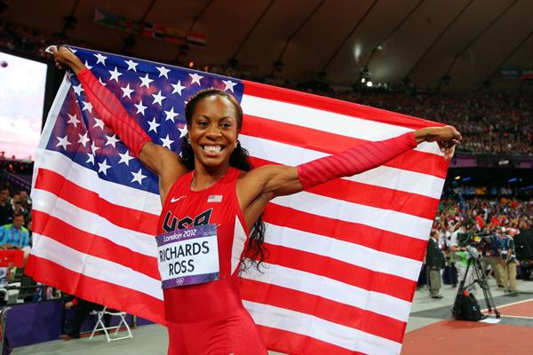 Sanya Richards-Ross of the United States celebrates winning gold in the Women's 400m Final on Day 9 of the London 2012 Olympic Games on 5 August 2012 (Getty Images)