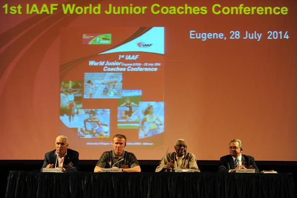 Malek El-Hebil,Sergey Bubka, IAAF President Lamine Diack and Victor Lopez at the opening of the 1st IAAF World Junior Coaches Conference (Getty Images)
