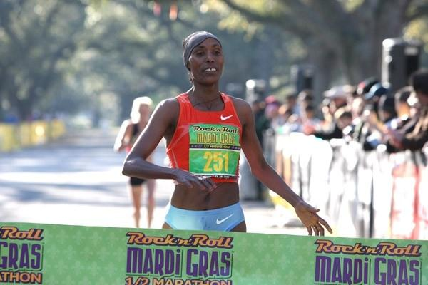 Berhane Adere just a step away from her 1:07:52 at the New Orleans Half Marathon (Victah Sailer)