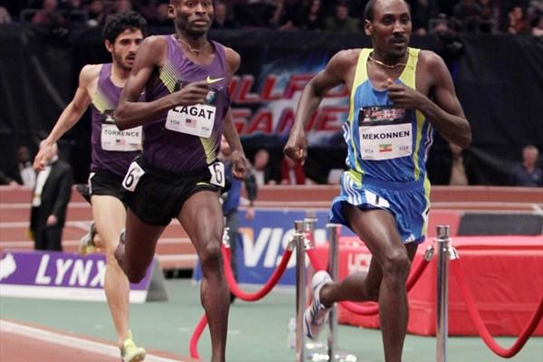 Deresse Mekonnen beats Bernard Lagat at the 104th Millrose Games (Errol Anderson)