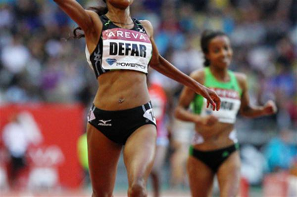 Ethiopia's Meseret Defar, who earned a 5000 metres victory in 14:29.52 - Meeting Areva, Paris (Errol Anderson)