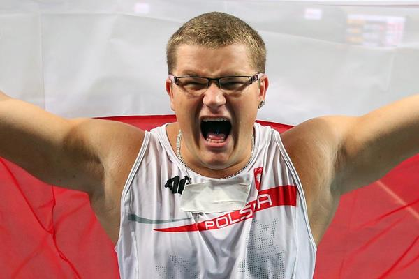 Poland's Pawel Fajdek celebrates his win in the Hammer (Getty Images)
