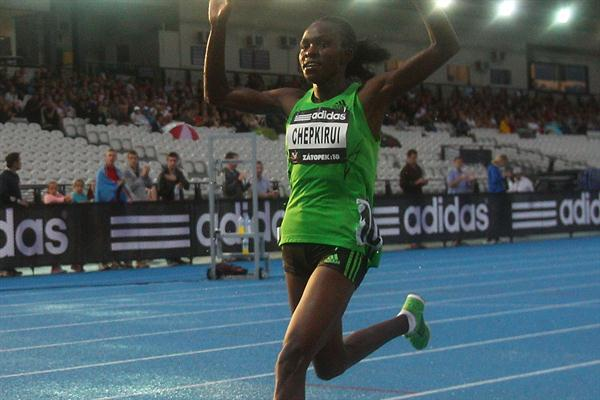 Joyce Chepkirui of Kenya celebrates as she crosses the finish line to win the Zatopek 10 Women's 10,000m during the 2011 Zatopek Classic  (Getty Images)