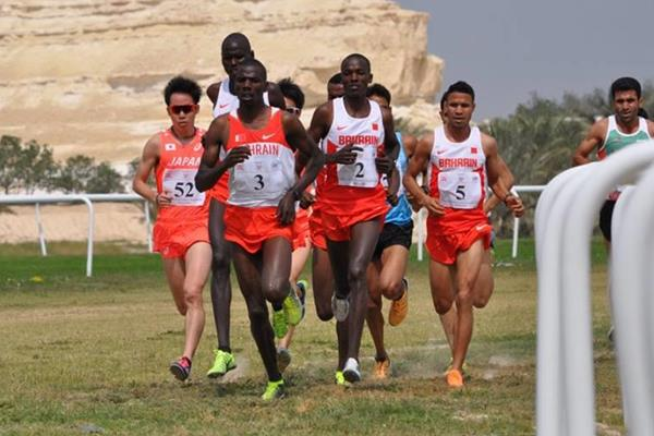 Albert Rop (3) leads in the early stages of the senior men's race at the 2016 Asian Cross Country Championships (AAA)