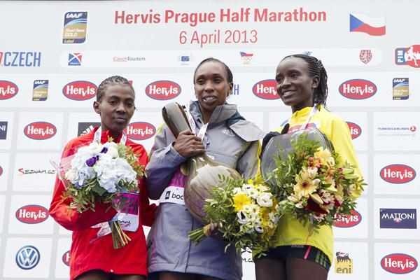 Worknesh Degefa, Gladys Cherono and Isabella Ochichi on the podium at the 2013 Hervis Prague Half Marathon   (Hervis Prague Half Marathon  )