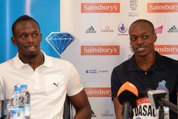 Usain Bolt and James Dasaolu at the pre-event press conference for the 2013 IAAF Diamond League meeting in London (Kirby Lee)