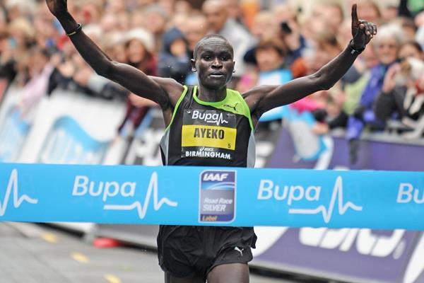 Uganda's Thomas Ayeko wins the Great Birmingham Run (Mark Shearman)