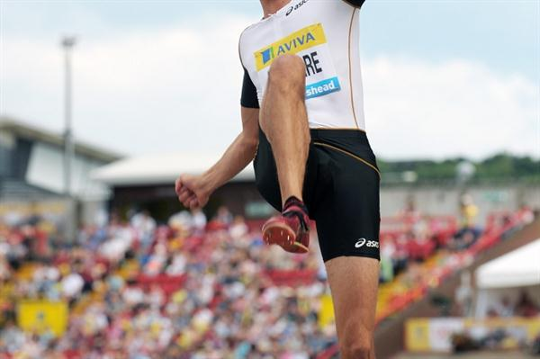 Airborne in Gateshead - Fabrice Lapierre flies to his second Samsung Diamond League victory (Mark Shearman)