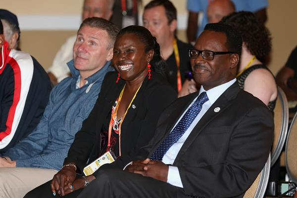 (L-R) IAAF Vice President Sergey Bubka, IAAF Council Member Pauline Davis-Thompson and Bahaman Ministry of Sport, Dr. Daniel Johnson attend a press conference ahead of the IAAF World Relays at the Melia Hotel on May 23, 2014 in Nassau, Bahamas. (Getty Images)