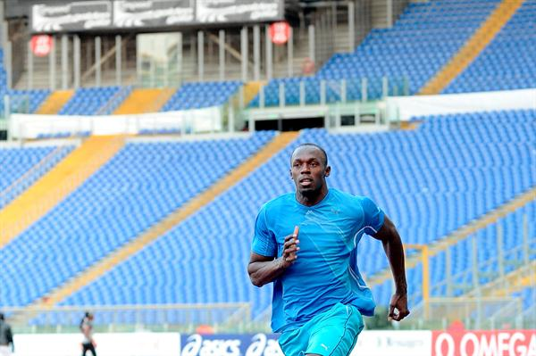 Usain Bolt training at Rome's Olympic Stadium (GMT/FIDAL)