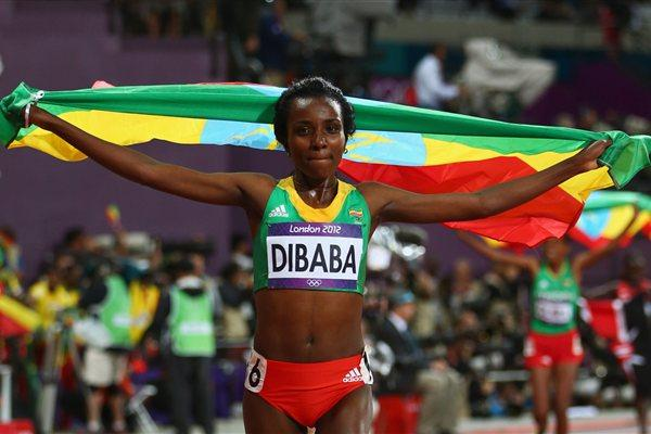 Tirunesh Dibaba of Ethiopia celebrates winning gold in the Women's 10,000m Final on Day 7 of the London 2012 Olympic Games at Olympic Stadium on August 3, 2012  (Getty Images)