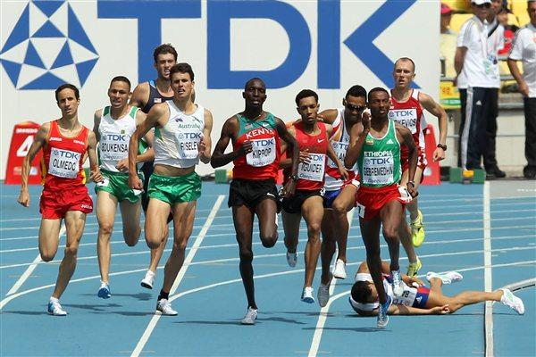 Action in the heats of the 1500m where Mehdi Baala of France tumbled - he would later be reinstated (Getty Images)