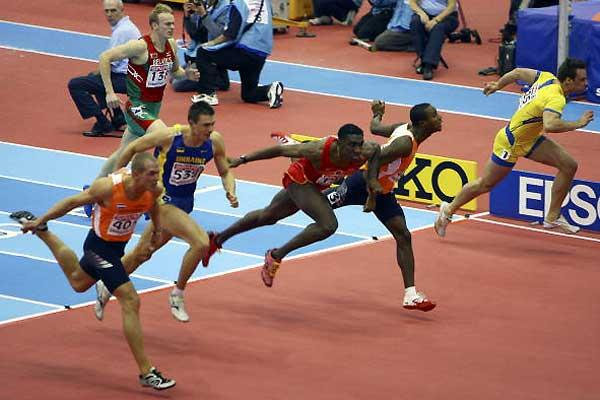 Gregory Sedoc wins the 60m Hurdles in Birmingham -  Spain's Jackson Quiñónez gets bronze (l) (Getty Images)