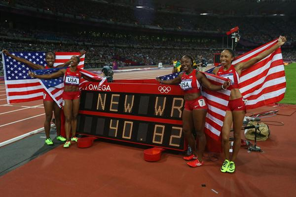 New World Record of 40.82 for USA relay team: Carmelita Jeter, Bianca Knight, Allyson Felix and Tianna Madison  of 40.82 after the Women's 4 x 100m Relay Final  of the London 2012 Olympic Games on 10 August 2012 (Getty Images)