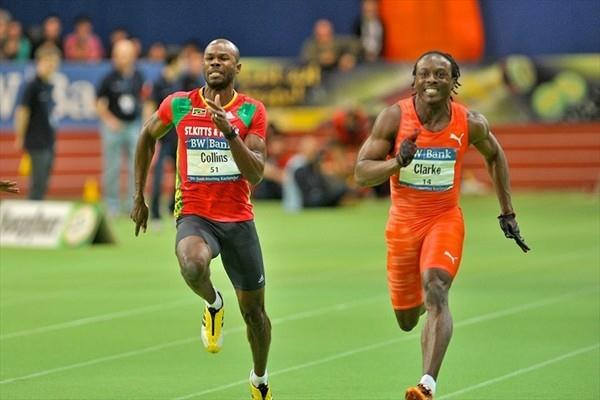 Kim Collins and Lerone Clarke in the Karlsruhe 60m. Clarke got the win in 6.52. (KMK)
