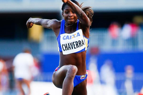 Yosiri Urrutia wins the triple jump at the Ibero-American Championships (Getty Images)