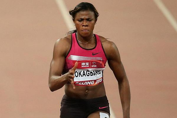 Blessing Okagbare on her way to winning the 100m in Beijing (Getty Images)