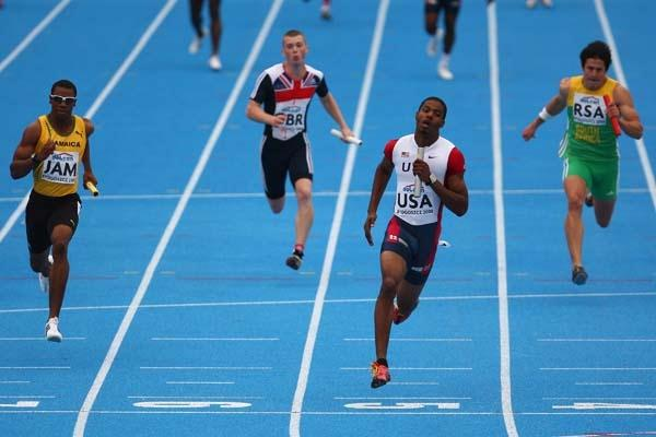 Tyrell Wilks of USA brings home gold in the anchor leg of the 4x100m Relay Final (Getty Images)