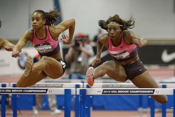 Nia Ali on her way to a world-leading 7.80 in the 60m hurdles at the US Indoor Championships (Kirby Lee)