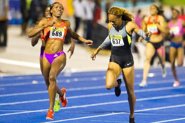 Novlene Williams-Mills edges Sanya Richards-Ross in Kingston (Errol Anderson - The SportingImage.net)