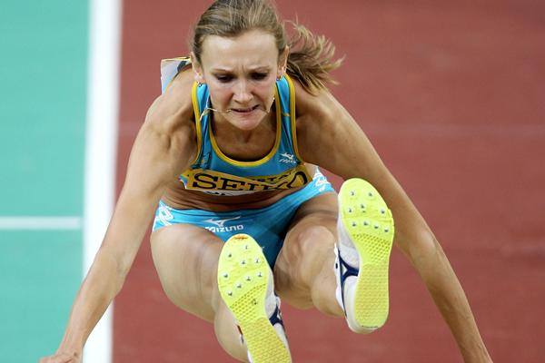 Olga Rypakova of Kazakhstan on her way to winning gold in the Triple Jump final (Getty Images)