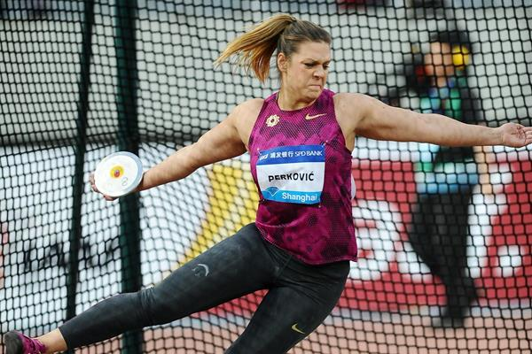 Sandra Perkovic at the 2014 IAAF Diamond League meeting in Shanghai (Errol Anderson)
