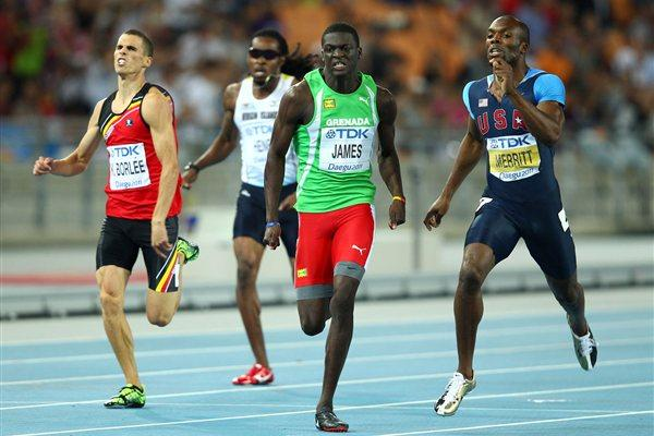 Kirani James (C) of Grenada crosses the finish line ahead of LaShawn Merritt (R) of United States and Kevin Borlee of Belgium (L) in the men's 400 metres final  (Getty Images)