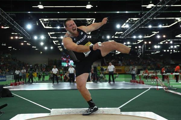 Tom Walsh in the shot put at the IAAF World Indoor Championships Portland 2016 (Getty Images)
