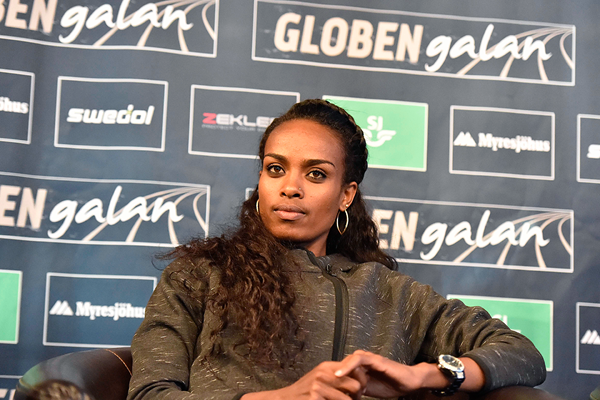 Genzebe Dibaba at the press conference ahead of the Globen Galan in Stockholm (Hasse Sjogren)