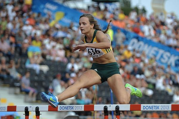 Helene Swanepoel in the girls' 400m Hurdles at the IAAF World Youth Championships 2013 (Getty Images)