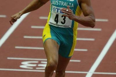 Patrick Johnson of Australia in the men's 100m heats (Getty Images)