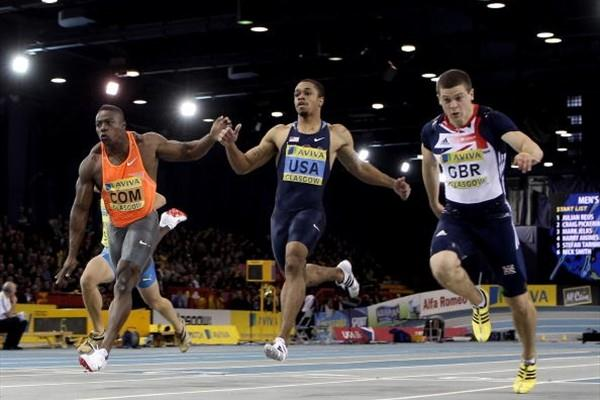 Craig Pickering wins the 60m in a blanket finish in Glasgow (Getty Images)