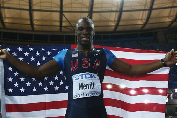 The USA's LaShawn Merritt celebrates adding the 400m World Championship title to his Olympic title (Getty Images)