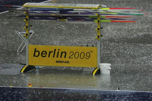 Rain pours down during day seven of the 12th IAAF World Championships in Athletics in Berlin (Getty Images)