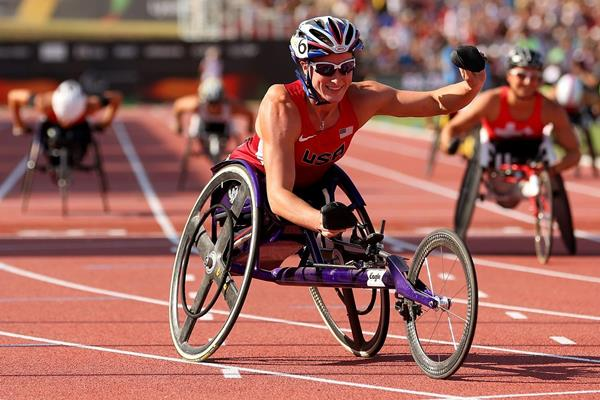 Tatyana McFadden after winning the 400m T54 at the 2013 IPC Athletics World Championships (Getty Images)