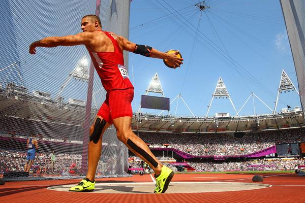Trey Hardee of the United States in action during the Men's Decathlon Discus Throw  of the London 2012 Olympic Gameson August 9, 2012 (Getty Images)