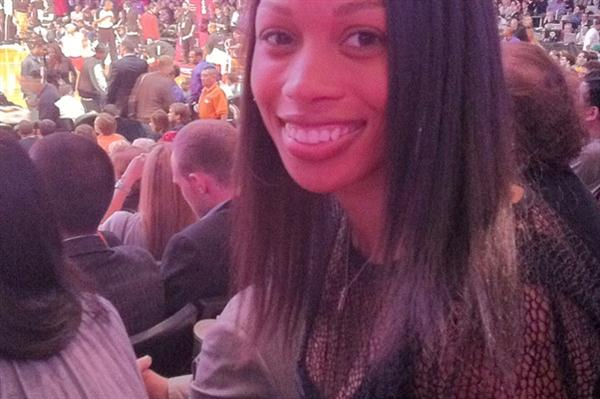 Allyson Felix at the NBA All-Star Game (Kirby Lee)